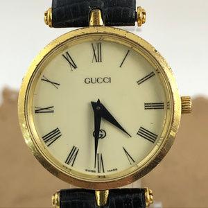 Vintage Gold Gucci Watch, Gucci Crown, Black Strap